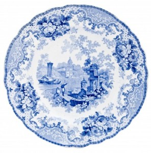 Staffordshire blue and white pearlware plate, early Victorian, transfer print design of Italian Scene.